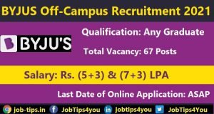 BYJU Recruitment 2021