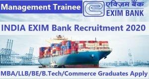 INDIA EXIM Bank Management Trainee Recruitment 2020