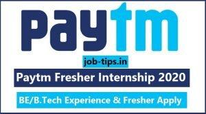 Paytm Fresher Internship 2020