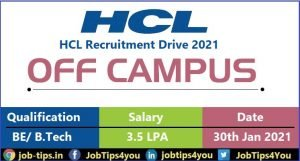 HCL Recruitment Drive 2021