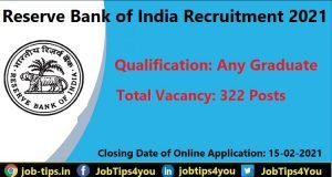 Reserve Bank of India Recruitment 2021