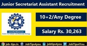 CCMB Junior Secretariat Assistant Recruitment
